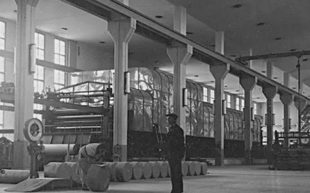 Hall de l'usine de papier Myllysaari à Valkeakoski