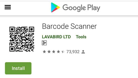 Application Android barcode scanner