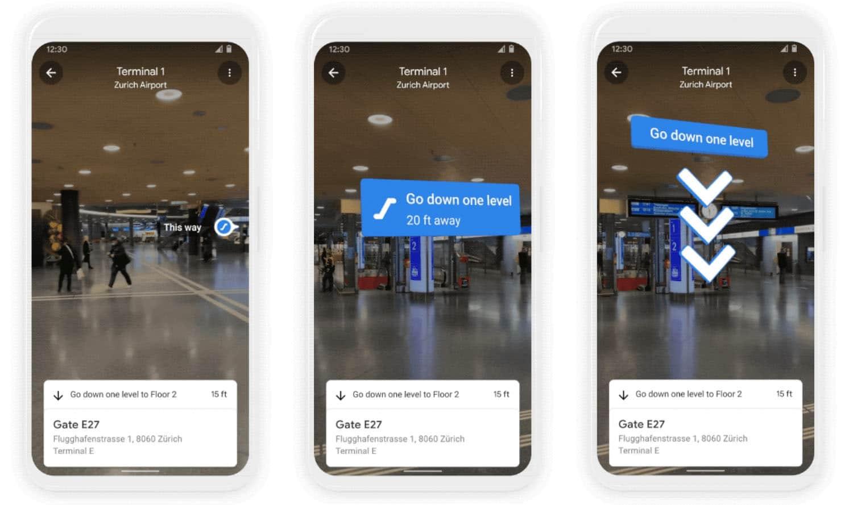 Application de Google Maps dans l'aéroport de Zurich